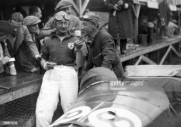 7th June 1931 Irish Grand Prix at Phoenix Park Dublin Sir Henry Birkin left with his Alfa Romeo car and mechanic Gaboardi Allessandro after winning...
