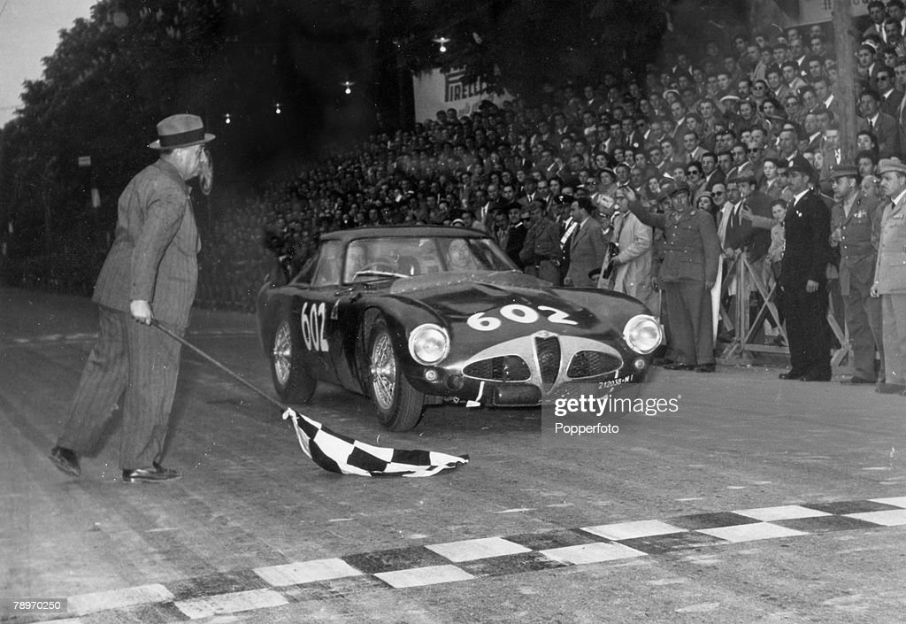 Sport. Motor Racing. Italy. Mille Miglia. (1000 Miles). pic: 26th April 1953. Brescia. Argentinian driver Juan Manuel Fangio at the finish in Brescia. : News Photo