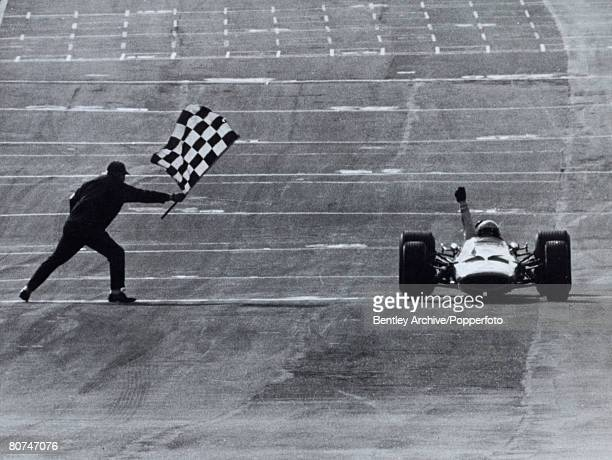 Sport Motor Racing March 1968 Brands Hatch England Bruce McClaren takes the chequered flag to win the Race of Champions McClaren designed and built...