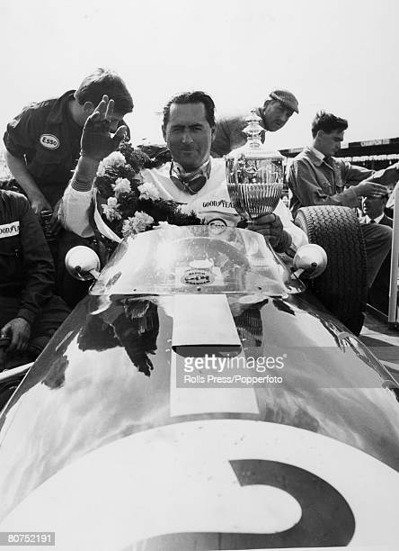 Sport Motor Racing May 1966 Australian Racing driver Jack Brabham garlanded after victory in the International Trophy Race