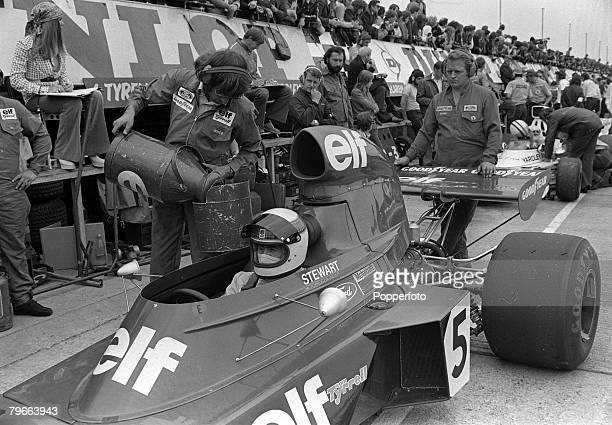 Sport Motor Racing Northamptonshire England 12th July 1973 Scottish driver Jackie Stewart prepares for practice prior to the British Grand Prix at...