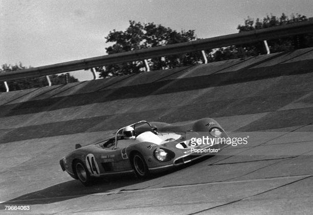 Sport Motor Racing Paris France 18th October 1970 A MatraSimca car driven by Jack Brabham of Australia and French codriver Francois Cevert en route...