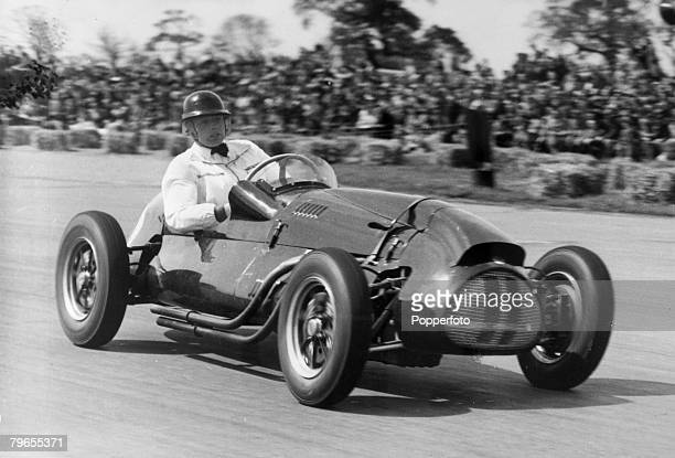 11th May 1952 International Trophy Race at Silverstone British racing driver Mike Hawthorn in action driving a Copper 1791 cc car Mike Hawthorn won...