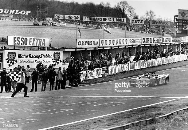 16th April 1972 1000 km Sportscar Championship Race at Brands Hatch The Ferrari of Mario Andretti and Jackie Ickx takes the checkered flag