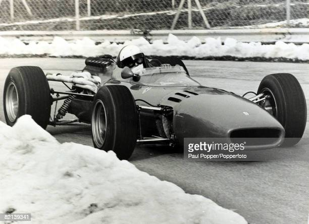 17th August 1961 Italy's Lorenzo Bandini practicing on the Monza circuit ringed by snow as he puts the Ferrari through it's paces Lorenzo Bandini had...