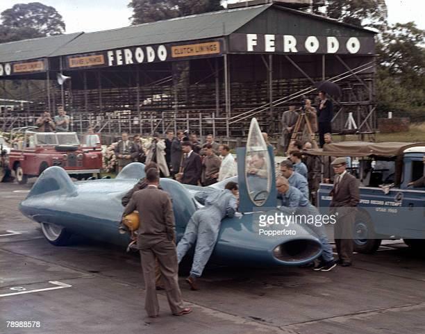 1960 Donald Campbell's new Bluebird car at Goodwood