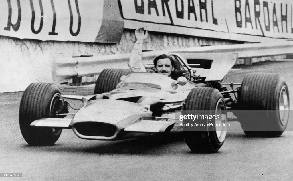 Sport Motor Racing. pic: 19th May 1969. Monte Carlo. British driver Graham Hill, then reigning world champion, delighted after winning the Monaco Grand Prix. Graham Hill was Formula One world champion twice in 1962 and 1968. : News Photo