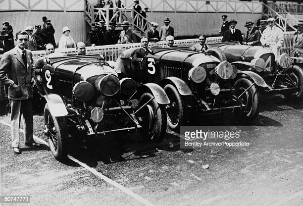 22nd June 1928 Le Mans 24 Hour Race Three Bentley cars and drivers leftright FC Clement JDBenjafield Sir HRS Birkin J Chassagne and Woolf Barnato The...