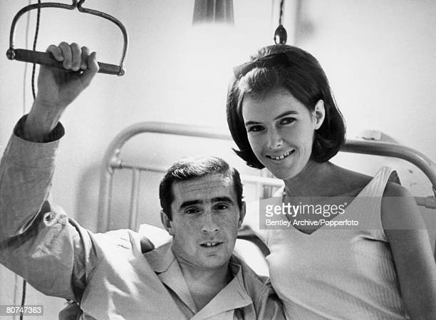 23rd June 1966 St Thomas' Hospital London Great Britain's Jackie Stewart with is wife Helen as he recovers from his injuries sustained in the Belgium...