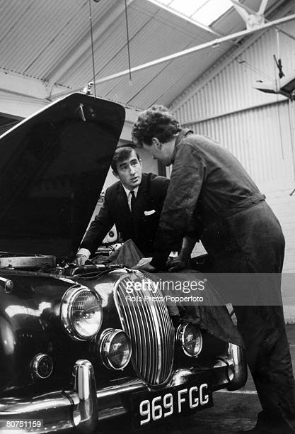 26th May 1966 Dumbuck Dumbartonshire Scotland Great Britain's Jackie Stewart in his garage after arriving back from Monaco where he had won the...