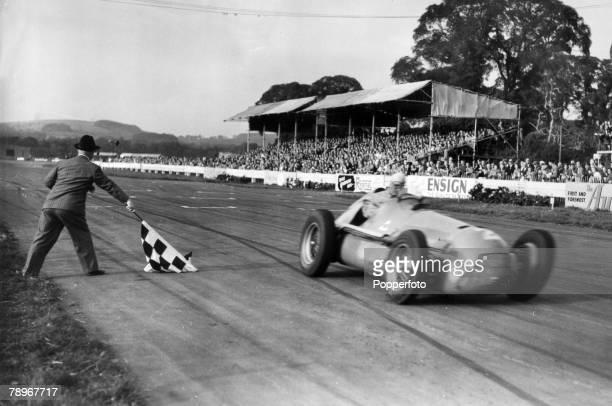 29th September 1951 Goodwood England Italian driver Giuseppe Nino Farina wins the Daily Graphic Trophy race in an Alfa Romeo
