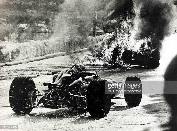 9th May 1967 Italy's Lorenzo Bandini in a Ferrari crashes after losing control at the chicane and the car ignites the straw bales causing a fireball...