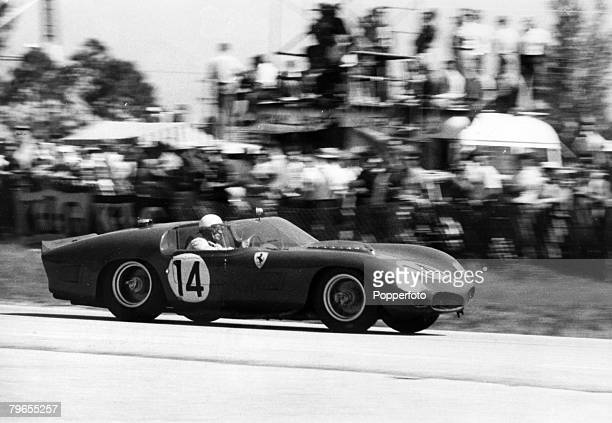 Sport, Motor Racing, pic: March 1961, Sebring, Florida, 12th Hour Endurance Race, Phil Hill, USA, race in a Ferrari, Phil Hill was the 1961 driver's...