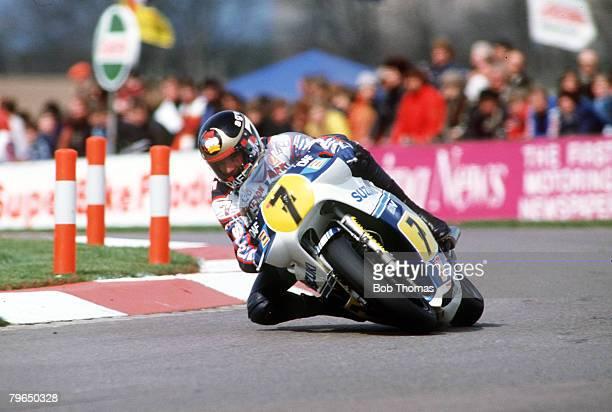 17th April 1983 International Gold Cup Meeting at Donington Park Barry Sheene Great Britain riding a 500 ccSuzuki