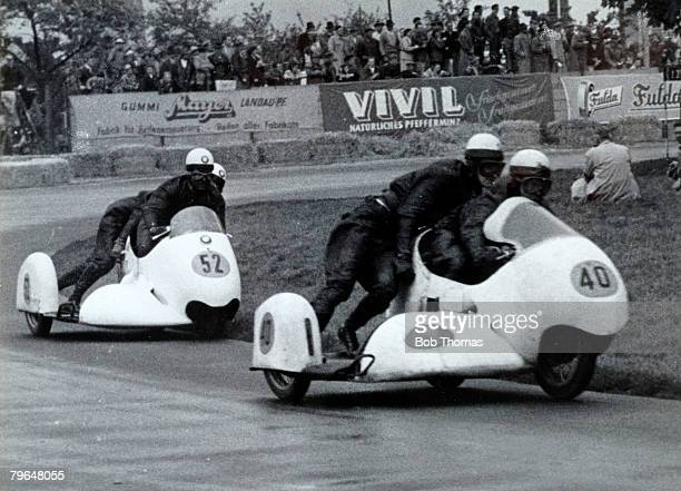 May 1957 BMW Motorcyle and sidecars racing on the Hockenheim circuit