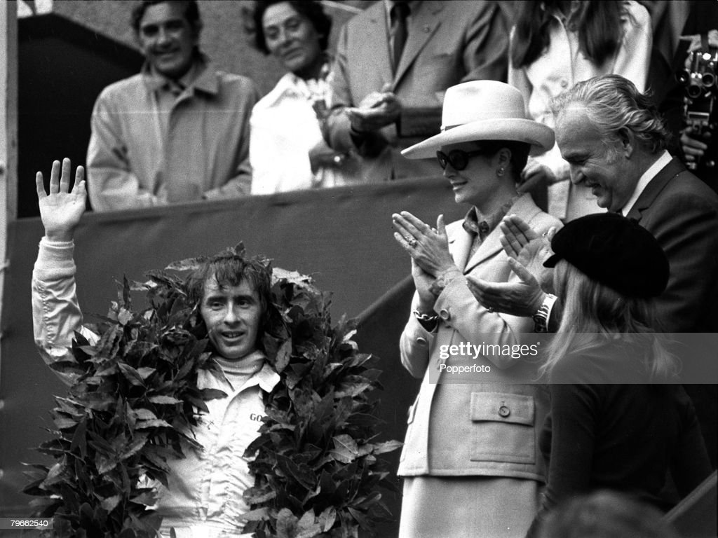 Sport, Motor-Racing, Monaco, France, 23rd May 1971, Formula One Monaco Grand Prix, Scotland's Jackie Stewart is applauded by Princess Grace and Prince Rainier of Monaco after winning the race in his Tyrell Ford : News Photo
