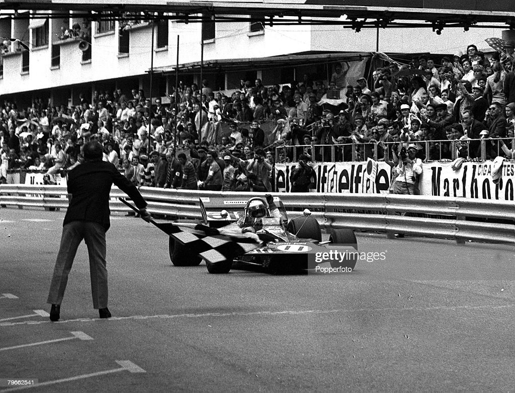 Sport, Motor-Racing, Monaco, France, 23rd May 1971, Formula One Monaco Grand Prix, Scotland's Jackie Stewart in his Tyrell Ford wins the race at an average speed of 83,49 miles per hour : News Photo