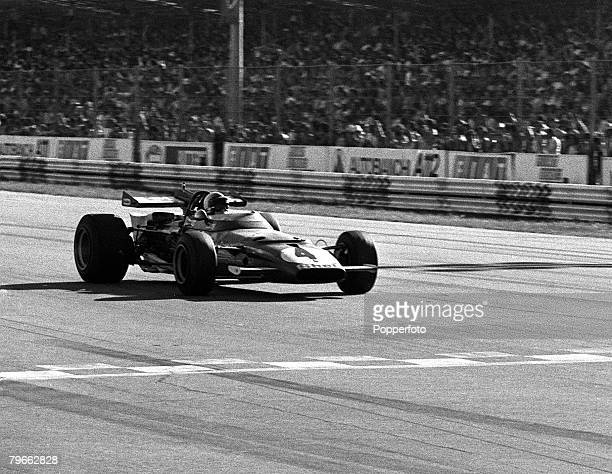 Sport MotorRacing Monza Italy 6th September 1970 Formula One Italian Grand Prix Switzerland's Clay Regazzoni is pictured winning the race in his...