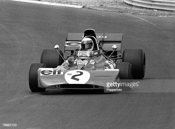 Sport MotorRacing West Germany 3rd August 1971 Formula One German Grand Prix Britain's Jackie Stewart in his TyrellFord is pictured on his way to...
