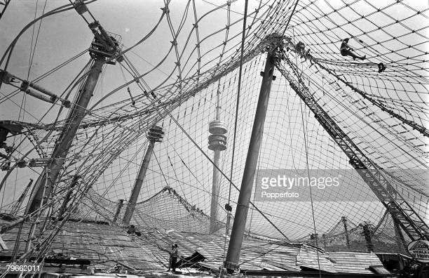 Sport Munich Germany 16th July 1971 Work takes place on the 'Spiders Web' roof that will cover Munich's Olympic Stadium site of the 1972 Olympic Games