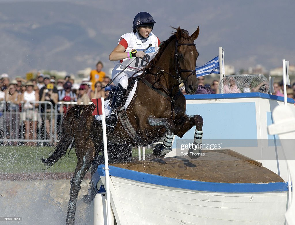 BT Sport. Olympic Games, Athens, Greece. 17th August 2004. Equestrian. Three Day Eventing, Cross Country. The Water Jump. Jeanette Brakewell of Great Britain riding 'Over to You'. : News Photo