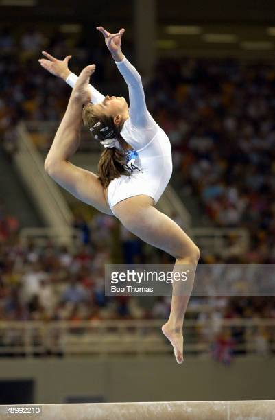 Sport Olympic Games Athens Greece 19th August 2004 Gymnastics Womens Individual All Around Final Beam Anna Pavlova Russia