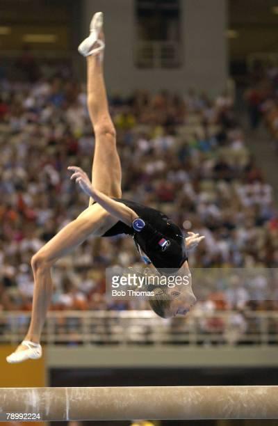 Sport Olympic Games Athens Greece 19th August 2004 Gymnastics Womens Individual All Around Final Beam Svetlana Khorkina Russia