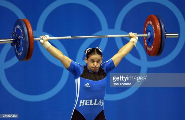 Sport Olympic Games Athens Greece 20th August 2004 Womens Weightlifting 75 Kg Final Christina Ioannidi of Greece
