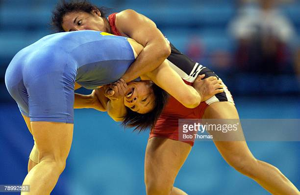 Sport, Olympic Games, Athens, Greece, 23rd August 2004, Womens Wrestling, Freestyle 55kg, Mabel Fonseca of Porto Rico v Dongmei Sun of China