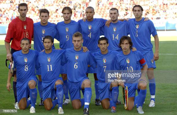 Sport Olympic Games Athens Greece 24th August 2004 Football Mens SemiFinal Italy 0 v Argentina 3 Italy team Group Back Row LR Ivan Pelizzoli Daniele...