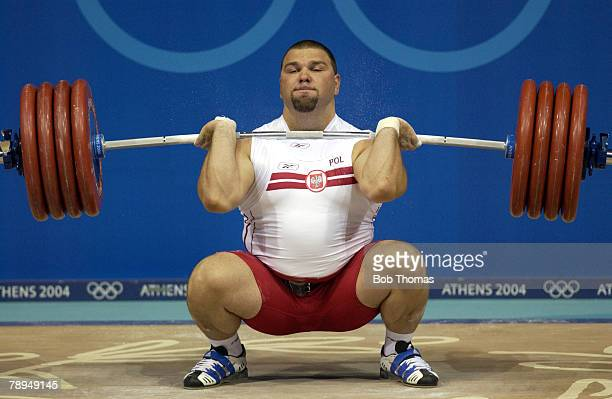 Sport Olympic Games Athens Greece 25th August 2004 Weightlifting Mens 105 Kg Plus Grzegorz Kleszcz of Poland