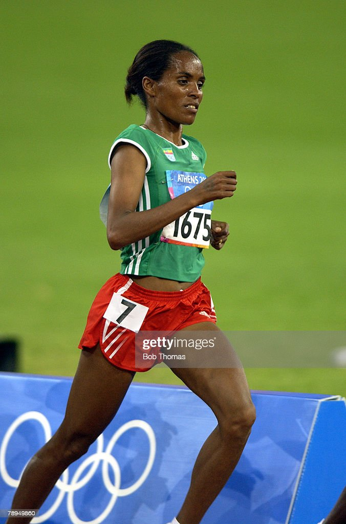 Sport. Olympic Games, Athens, Greece. 27th August 2004. Athletics. Womens 10000 Metres Final. Bronze medal winner Derartu Tulu of Ethiopia. : News Photo