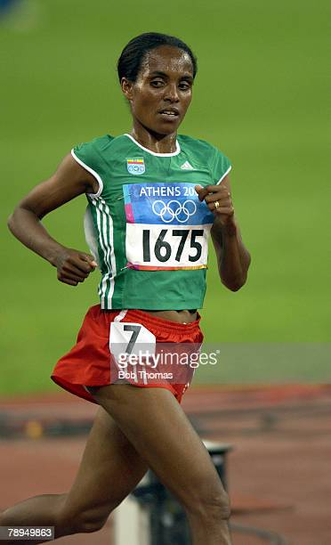 Sport Olympic Games Athens Greece 27th August 2004 Athletics Womens 10000 Metres Final Bronze medal winner Derartu Tulu of Ethiopia