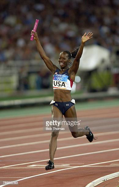 Sport Olympic Games Athens Greece 28th August 2004 Athletics Women 4 x 400 Metres Relay Final The USA team win Gold as Deedee Trotter crosses the...