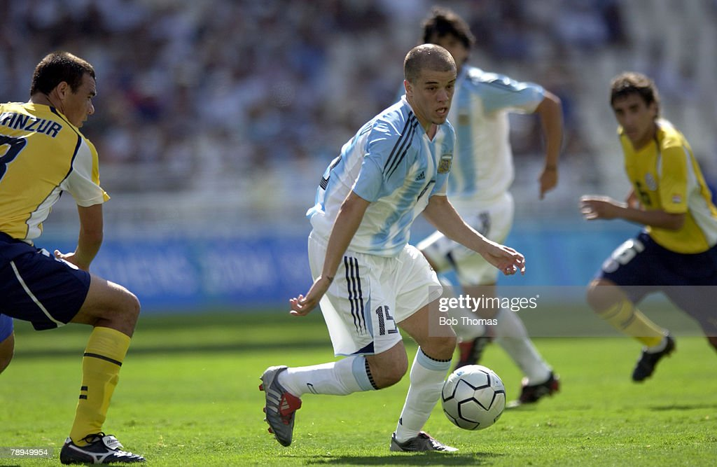 BT Sport. Olympic Games, Athens, Greece. 28th August 2004. Mens Football Final. Argentina 1 v Paraguay 0. Andres Alessandro of Argentina. : News Photo