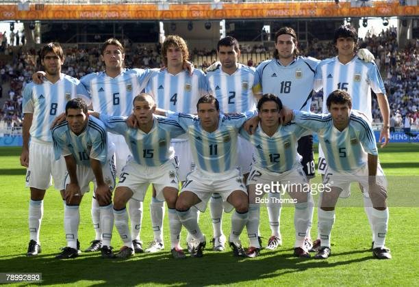 Sport Olympic Games Athens Greece 28th August 2004 Mens Football Final Argentina 1 v Paraguay 0 Argentina team group Back Row LR Cesar Delgado...