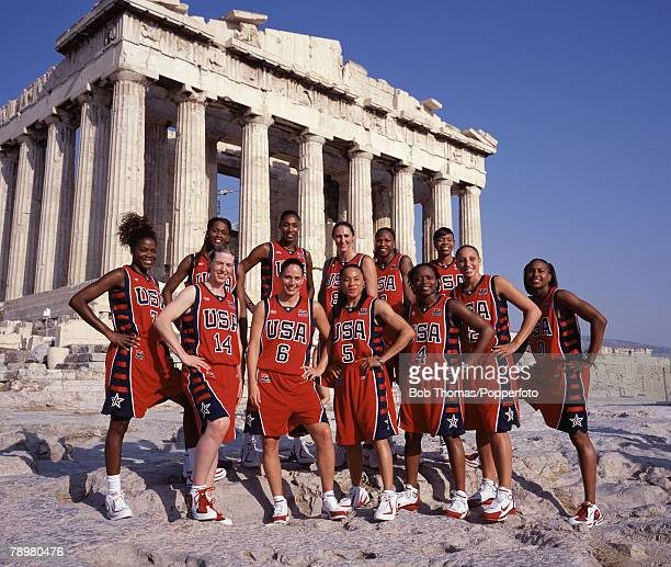 Sport Olympic Games Athens Greece August 2004 The American Womens basketball team in front of the Parthenon on the Athenian Acropolis The USA team...