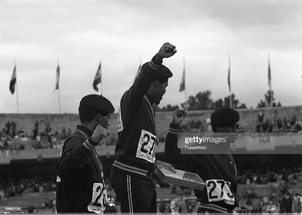Sport, Olympics, Men's 400m Mexico, 22th October 1968, American medallists give the 'Black Power' salute on the winners rostrum, Left to right: Larry James (silver) Lee Evans (Gold) and Ronald Freeman