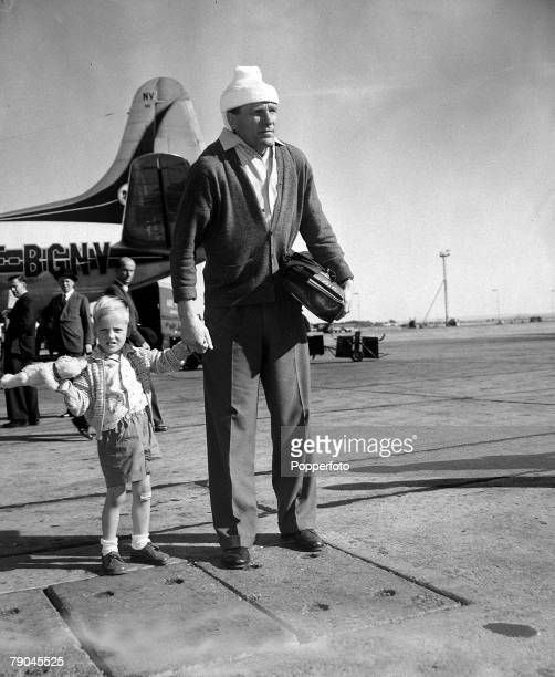 27th July 1956 Manchester City's German born goalkeeper Bert Trautmann is pictured at London Airport still wearing a heavy plaster on his head and...