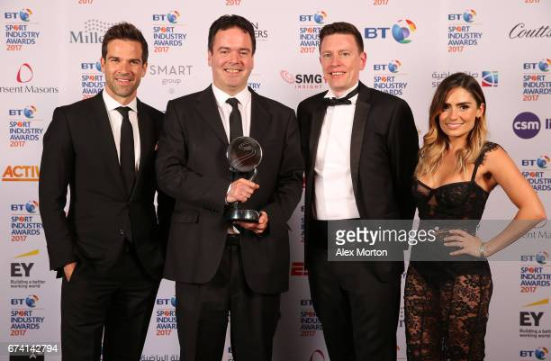 Sport pose with the Digital Platform of the Year award and Gethin Jones and Layla AnnaLee during the BT Sport Industry Awards 2017 at Battersea...