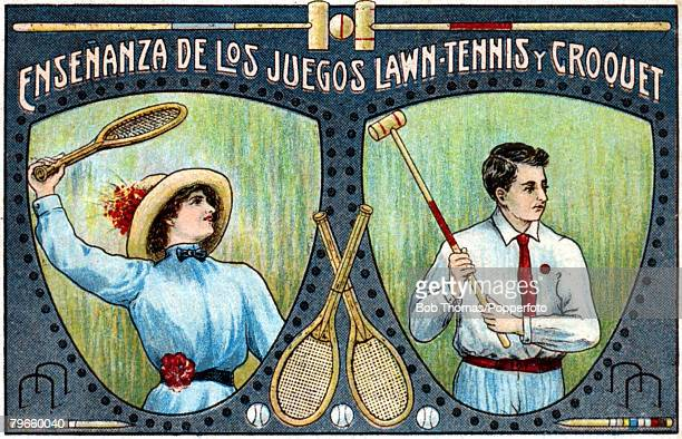 Sport Postcards Illustration circa 1900 Combination of two images illustrating both Lawn Tennis and Croquet A young woman swings her racket in the...