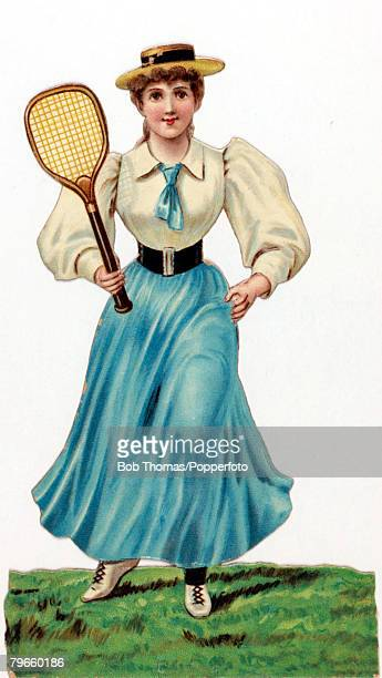 Sport Postcards Illustration circa 1900 Professionally dressed young woman plays tennis wearing a white blouse with leg of mutton sleeves a neat...
