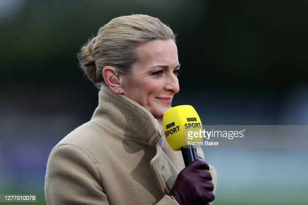 Sport presenter Gabby Logan is seen during the Vitality Women's FA Cup: Quarter Final match between Arsenal FC and Tottenham Hotspur FC at Meadow...