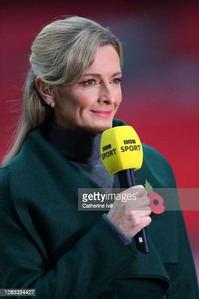 Sport presenter Gabby Logan is seen prior to the Vitality Women's FA Cup Final match between Everton Women and Manchester City Women at Wembley...