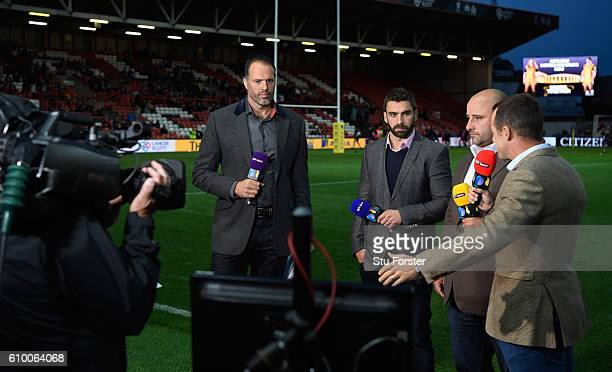 Sport presenter Martin Bayfield chats with his pundits before the Aviva Premiership match between Bristol Rugby and Exeter Chiefs at Ashton Gate on...