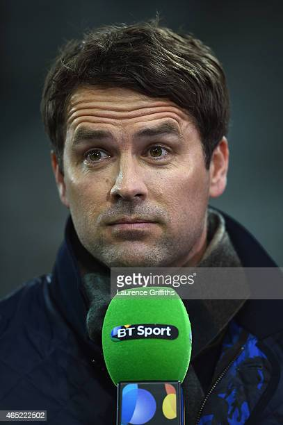 Sport presenter Michael Owen looks on prior to the Barclays Premier League match between Newcastle United and Manchester United at St James' Park on...