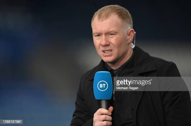 Sport Pundit, Paul Scholes looks on prior to the Premier League match between Leicester City and Manchester United at The King Power Stadium on...