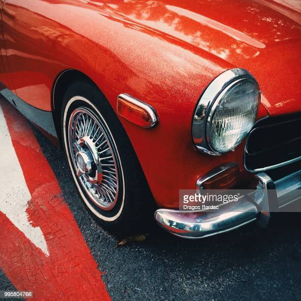 sport red - vintage car stock pictures, royalty-free photos & images