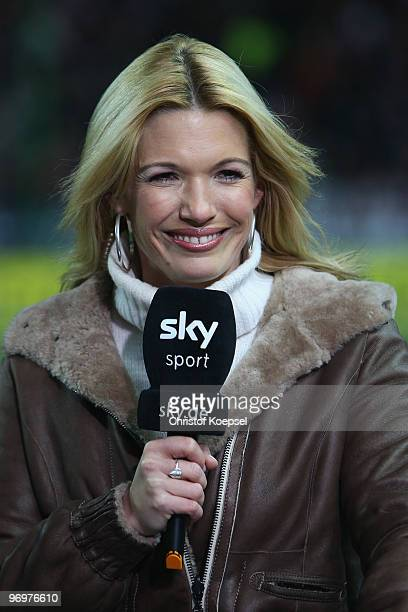 Sport reporter Jessica Kastrop of sky television channel is seen before the Second Bundesliga match between 1FC Kaiserslautern and FC St Pauli at...