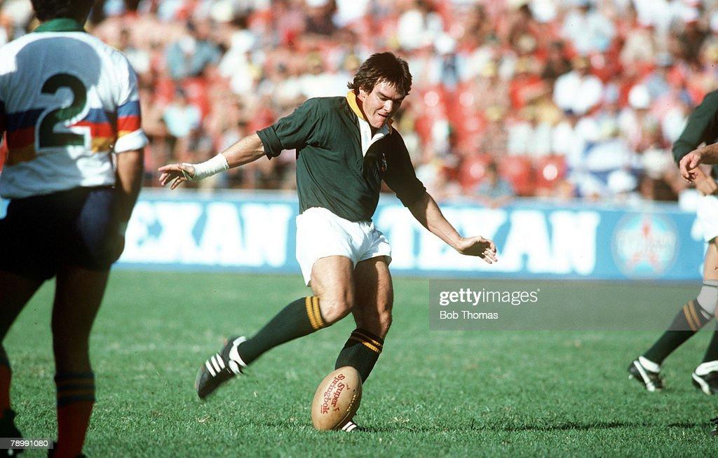 Sport. Rigby Union. pic: 27th March 1982. International Match in Pretoria. South Africa v South American Jaguars. Danie Gerber, South Africa. : News Photo